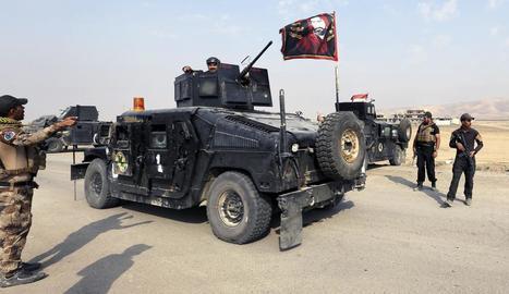 Membres de les forces iraquianes a 27 quilòmetres de Mossul el 27 d'octubre passat.