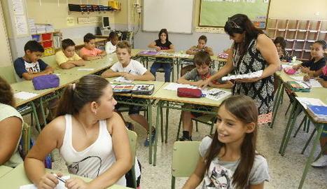 Imatge del primer dia de curs en una escola de Lleida.