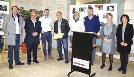 Un moment de la inauguració de la mostra, ahir, a la Biblioteca de Lleida.