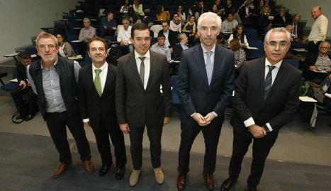 Joan Segura, Marià Sorribas, Domènec Vila, Fernando Chocarro i Antonio Condal, ahir en la jornada.