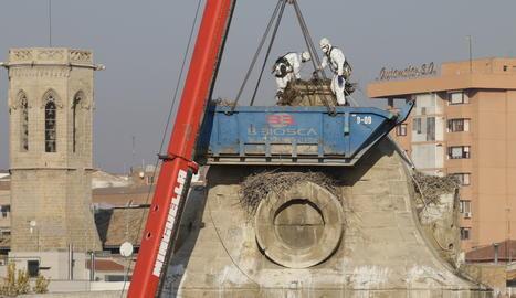 Treballs de retirada dels nius de cigonya, aquest dimecres, a la Catedral de Lleida