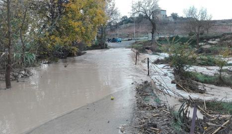 El río Sió este jueves por la mañana en Castellnou d'Ossó