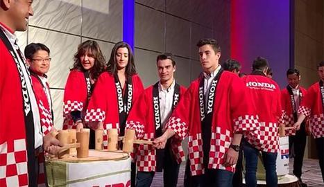 Marc Màrquez, al costat de Dani Pedrosa, a la festa d'Honda.