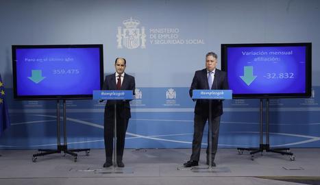 Els secretaris d'Estat d'Ocupació, Juan Pablo Riesgo, i de Seguretat Social, Tomás Burgos, ahir.