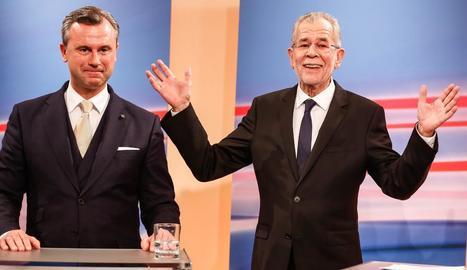 Norbert Hofer i Alexander van der Bellen, diumenge.