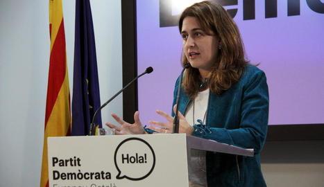 Marta Pascal, en la roda de premsa d'ahir a la seu del PDECat.