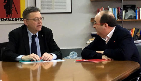 Puig i Iceta, ahir durant la reunió a València.