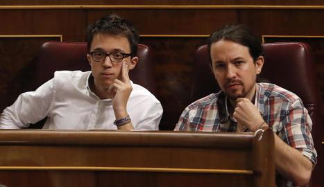 Imatge d'arxiu d'Iñigo Errejón i Pablo Iglesias.