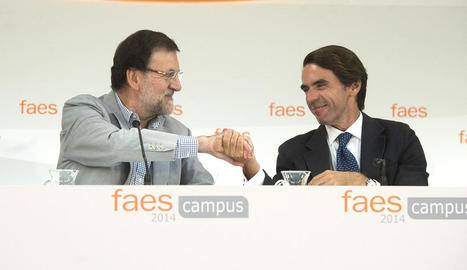 Rajoy i Aznar en un acte de la fundació el 2014.