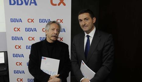 Josep Oliver i el delegat de la zona de Lleida de BBVA CX, Josep Lluís Martínez.