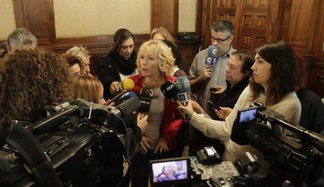 La subdelegada del Govern a Lleida, Inma Manso, ahir durant l'esmorzar amb la premsa.