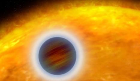 Il·lustració artística d'un exoplaneta que orbita molt a prop de la seva estrella.