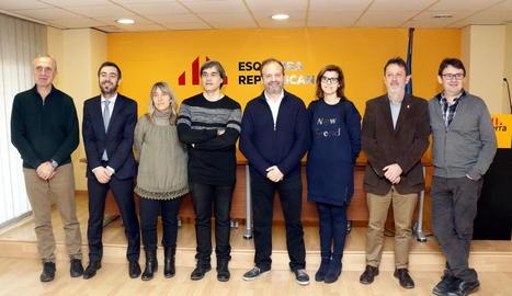 Membres d'ERC de Lleida a l'esmorzar amb els mitjans.