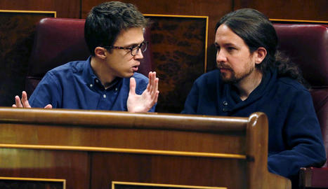 Íñigo Errejón i Pablo Iglesias en el ple del Congrés de dimarts passat.