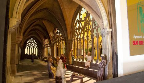 El pessebre 'lleidatà' de Manel Font recrea a la perfecció tots els detalls del claustre de l'antiga catedral de Lleida.