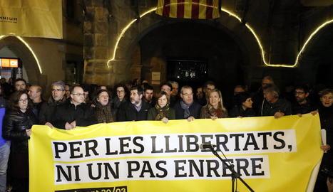 El regidor de la CUP de Vic, Joan Coma, en el moment de ser arrestat pels Mossos.