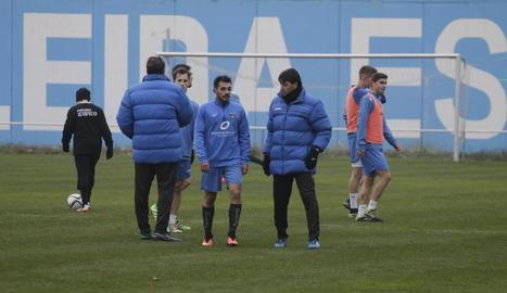 Siviero conversa amb Òscar Rubio després del partidet d'ahir entre el Lleida i el filial.