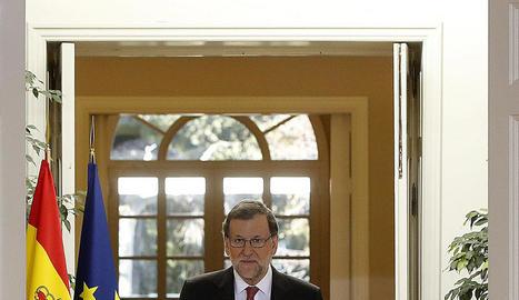 Rajoy, ahir a La Moncloa abans de fer el balanç polític de l'any.
