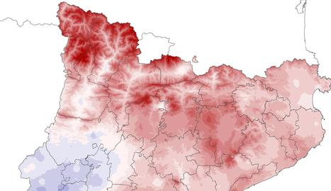 Mapa de diferència entre la temperatura mitjana i la climàtica.