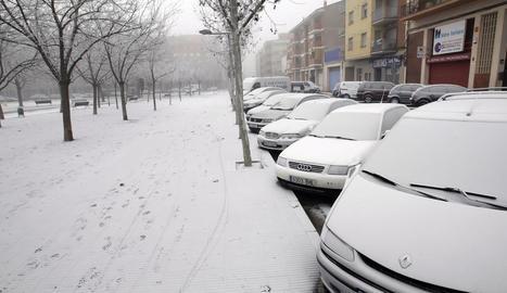 La font de l'avinguda Catalunya de Lleida, congelada.