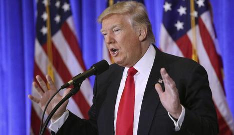Trump, ahir a la Trump Tower, a Nova York, durant la compareixença davant la premsa.