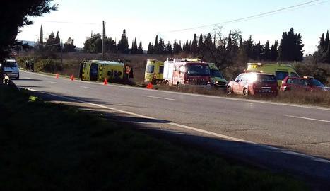 Imatge de l'accident d'una ambulancia a Les Borges