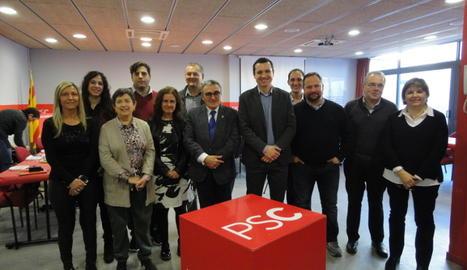 Foto de família de l'esmorzar del PSC de Lleida.