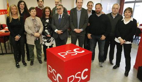 La permanent de l'executiva del PSC a la seua seu a Lleida.