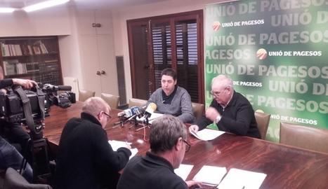 La roda de premsa d'UP aquest dimarts a Lleida.