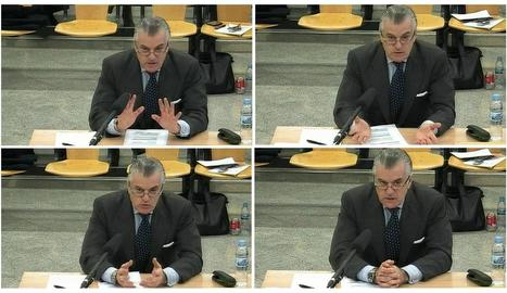 Imatges de la declaració d'ahir de Luis Bárcenas durant el judici del 'cas Gürtel'.