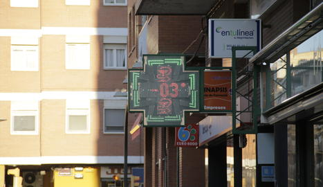 Un termòmetre a Lleida ciutat aquest dimecres.