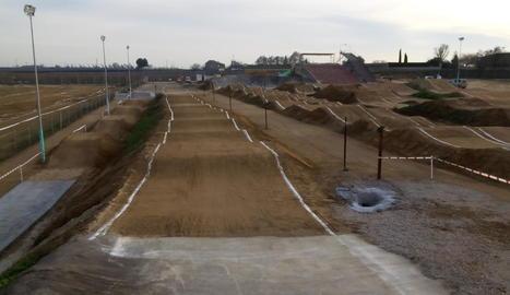 Una vista general del Bike Parc Vila-sana, que es converteix en un dels millors circuits de BMX permanents d'Europa.