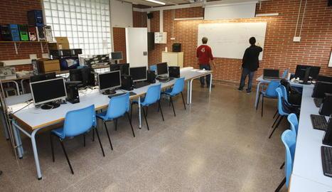 Una aula sense alumnes, en una anterior jornada de vaga docent.