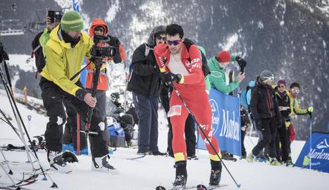 L'esquiador de Bellver, afrontant els últims metres.