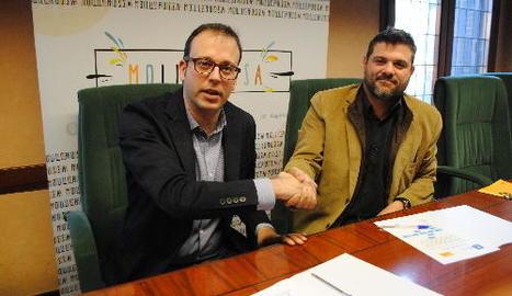 Marc Solsona, amb el líder d'ERC, Engelbert Montalà.
