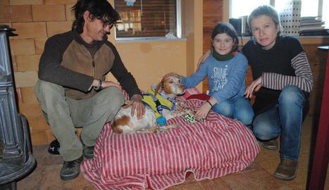 La família de Linyola que acull el Teo, un gos de 8 anys que ha estat operat del cor.