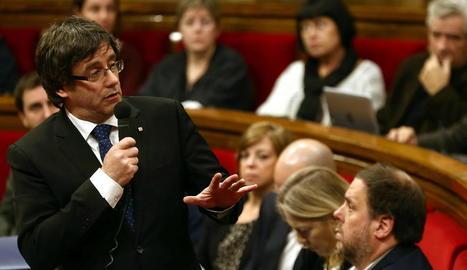 Puigdemont, durant una de les intervencions en la sessió de control d'ahir al Govern.