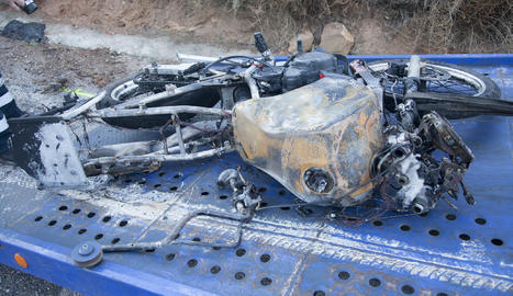 La motocicleta que conduïa l'última víctima mortal a les carreteres de Lleida.