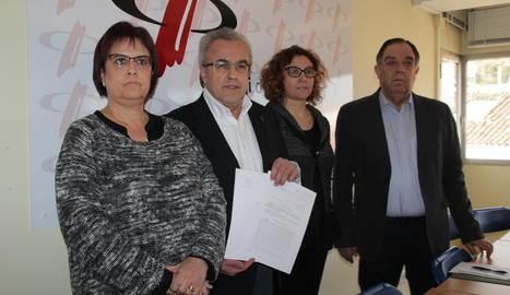 La roda de premsa de l'alcalde de Les Borges, Enric Mir, ha tingut lloc al Col·legi de Periodistes.