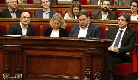 Romeva, Munté, Junqueras i Puigdemont, la setmana passada al Parlament.