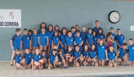 Els nadadors del CN Lleida que van participar en la jornada de la lliga benjamina i prebenjamina.