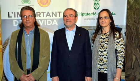 Enric Dalmau, Joan Reñé i Mari Paz Romero, ahir a Lleida.