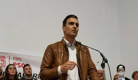 El socialista Pedro Sánchez, ahir a Castelló