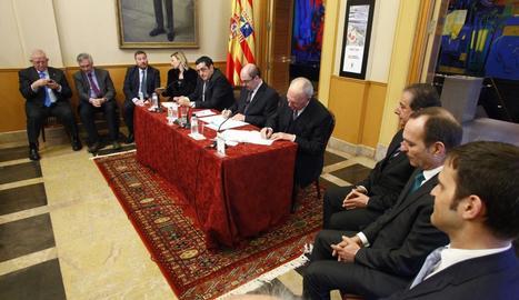 El president de l'Aragó, Javier Lambán, i el president de bonÀrea, Jaume Alsina, han signat aquest divendres el conveni de col·laboració.