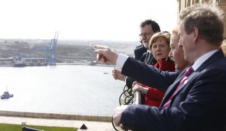 Mariano Rajoy i Angela Merkel, ahir, a la cimera de la Unió Europea a La Valletta.