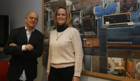 Odón Elorza i Zaida Cantera, a les instal·lacions de SEGRE divendres passat, quan es va presentar a Lleida la plataforma Militantes en Pie.