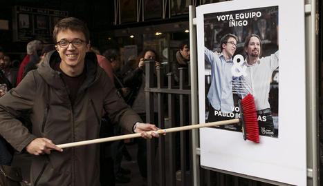 Errejón, ahir durant la presentació de la seua candidatura a Madrid.