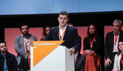 Albert Rivera, president de Ciutadans, ahir durant el seu discurs.