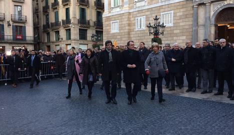 Puigdemont, amb Mas, Ortega, Rigau i Forcadell adreçant-se al Tribunal Superior de Justícia
