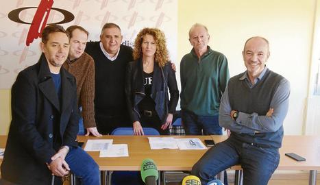 Representants de les emissores lleidatanes, ahir al CPC.